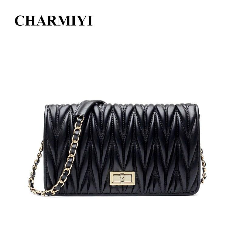 CHARMIYI Brand Fashion Genuine Leather Cover Women Shoulder Messenge Bags Soft Pleated High Quality Chain Female Crossbody Bag