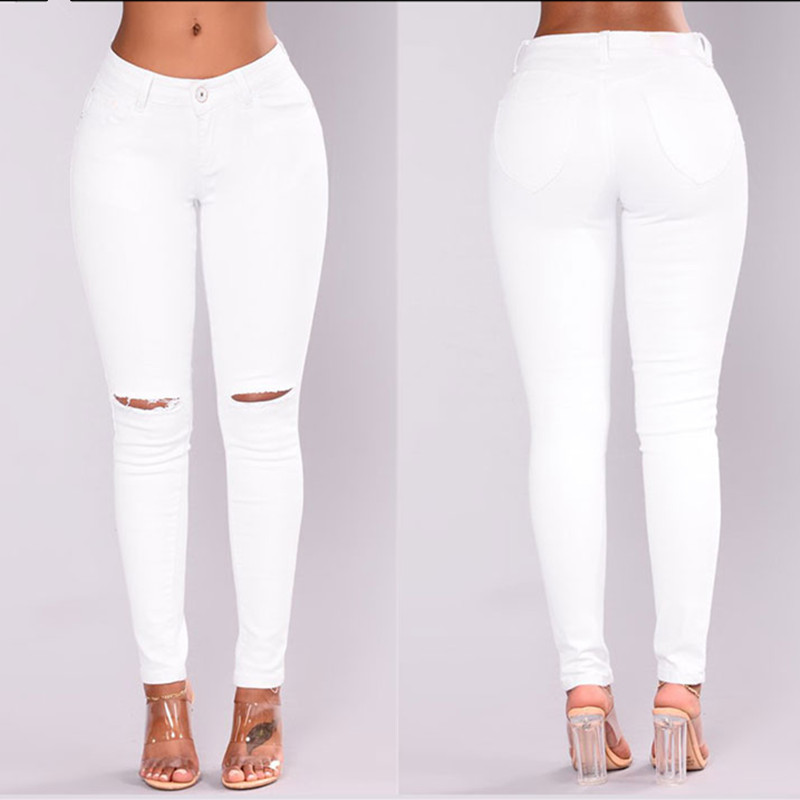 New 100% Cotton White Jeans Women Pencil Pants High Waist Denim Ripped Skinny Jeans For Women Slim Jeans Pantalon Femme Trousers brand women ripped zipper jeans summer ladies sexy high waist skinny pencil pants solid casual denim trousers pantalon femme