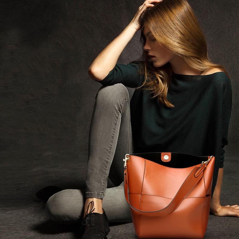 все цены на Brief Travel Shopping Large Capacity Bucket Shoulder Bag Soft Genuine Leather Magnetic Buckle Top-handle Bag Solid Handbag Tote онлайн
