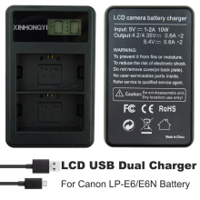 lp-e6 Battery Charger LP E6 Camera Pack LCD Dual USB for Canon 5D Mark II III 7D 60D EOS 6D 70D 80D