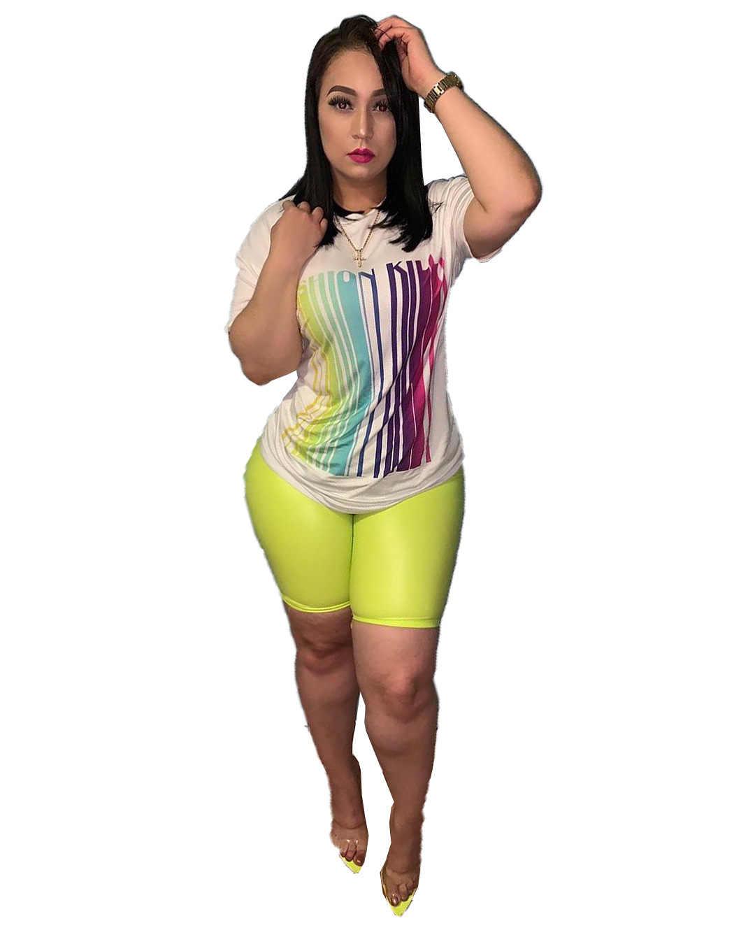 Conjunto de conjuntos de 2 piezas de moda para mujer conjunto de camisetas de manga corta Casual pantalones ajustados talla grande xxxl
