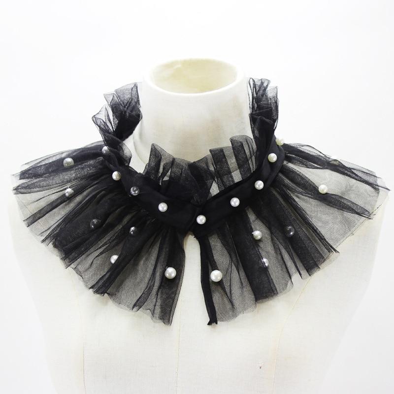 Jaderic 2018 Grenadine Cape Fake Collar Decorated Imitate Pearl Vintage Ladies Detachable Shirt Collar Women Clothes Accessories