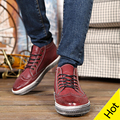 Spring Autumn Fashionable Lace Up British Oxfords Shoes For Men High Top Vintage Casual Shoes With short Plush For Winter