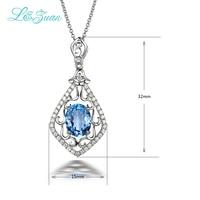 L & Цзуань S925 серебро 2.26ct круг натуральный голубой топаз камень кулон 18 дюйм(ов) Jewelry S925 серебро Цепочки и ожерелья