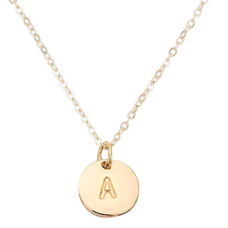26 buchstaben Initial Halskette Silber Goldene Scheibe Halskette Alphabet Frauen Kolye Collier Freunde Familie Name Münze Brief Halskette