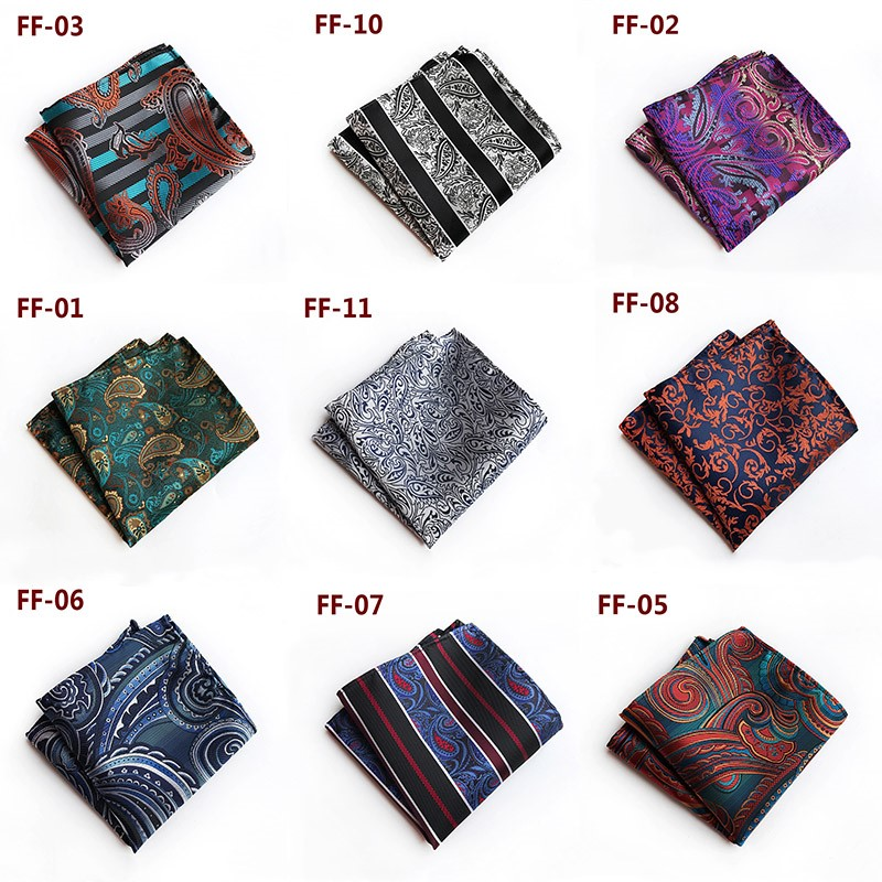 Men Paisley Floral  Silk Satin Pocket Square Hanky Jacquard Woven Hot Sale Wedding Party Handkerchief
