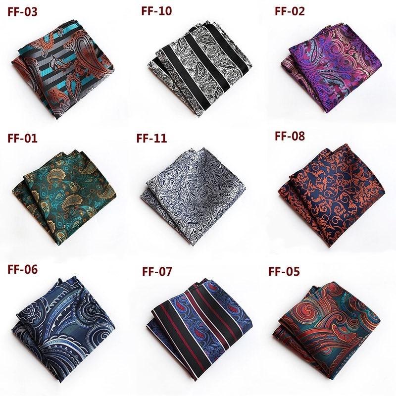 Men Paisley Floral  Silk Satin Pocket Square Hanky Jacquard Woven Hot Sale Wedding Party Handkerchief