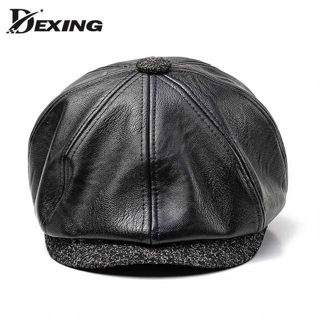 3976a29e677ce US $15.98 |60 CM Big size PU leather beret men Newsboy Cap Man Autumn  winter Hat Golf Driving Flat Cap Unisex Berets peaky blinders hat-in Berets  from ...