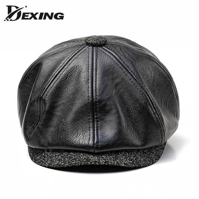 650cd667d26 60 CM Big size PU leather beret men Newsboy Cap Man Autumn winter Hat Golf  Driving Flat Cap Unisex Berets peaky blinders hat