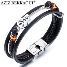 AZIZ BEKKAOUI Dropshipping Stainless Steel Guitar Bracelets Personalized Leather Bracelet for Men Customized Logo Rope Bangle(China)