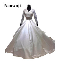 2017 New V neck Long Sleeve Cathedral Train Detachable Train Lace jacket Muslim Wedding Dress Bridal Gowns