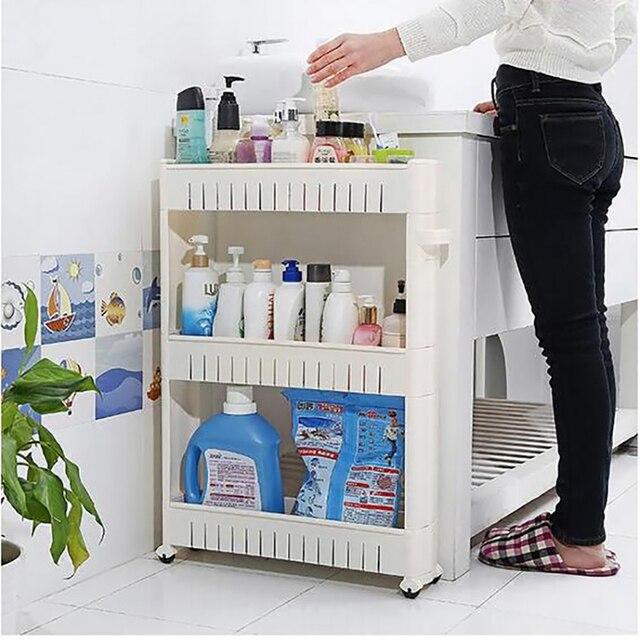 Wysokiej jakości regały ruchome jednostka organizator z 3 warstwy półka lodówka wąskiej do oszczędzenia miejsca Slim stojak do kuchni spiżarnia łazienka