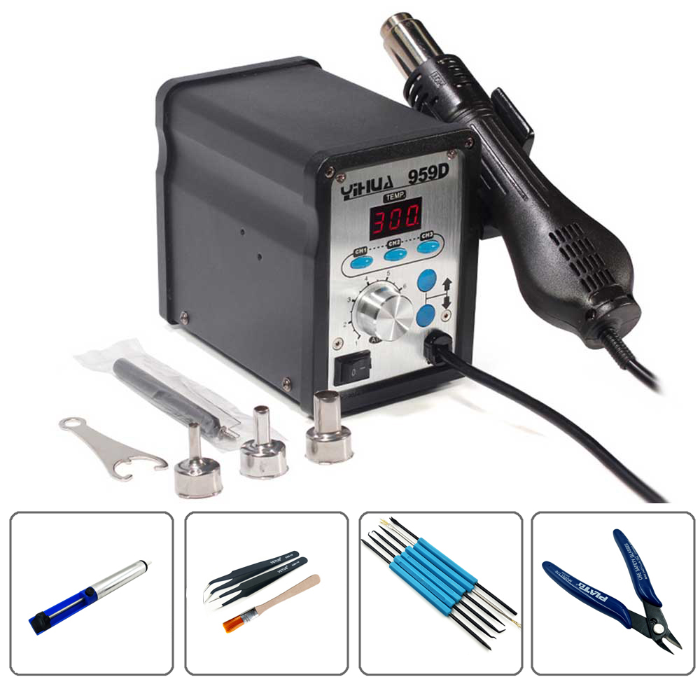 YIHUA 959D 220V LED Digital Display Hot Air Station SMD Soldering Station Constant Temperature Heat Gun Rework Station Solder wep 959d led display smd soldering station hot air gun rework station