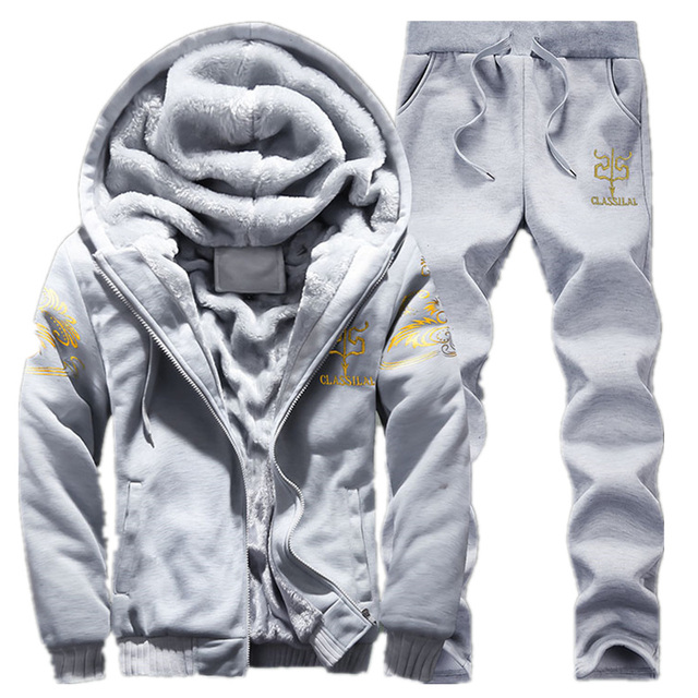 Brand New Men Set Fashion Tracksuit Lined Thick Sweatshirt + Pants Sportswear Suit Male Winter Suit Drop shipping 1