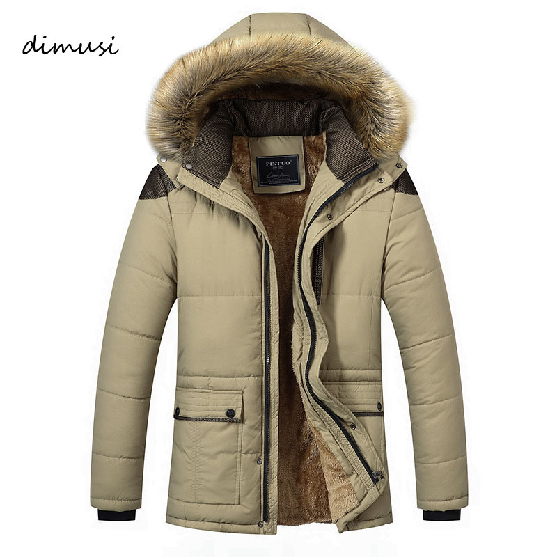 DIMUSI Men Winter Jacket Hooded Long Thick Thermal Fleece Cotton Parkas Male Casual Hoodies Faux Fur Collar Warm Coats 5XL,TA024 5xl winter thick warm jacket men casual long hooded coat fur collar parka men cotton padded jacket outwear male parkas hombre