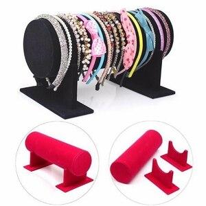 Image 1 - T type Velvet Jewelry Display Stand Bracelet Holder Stand Hairband Display Rack Retail Shop Headband Holder ZJM9128