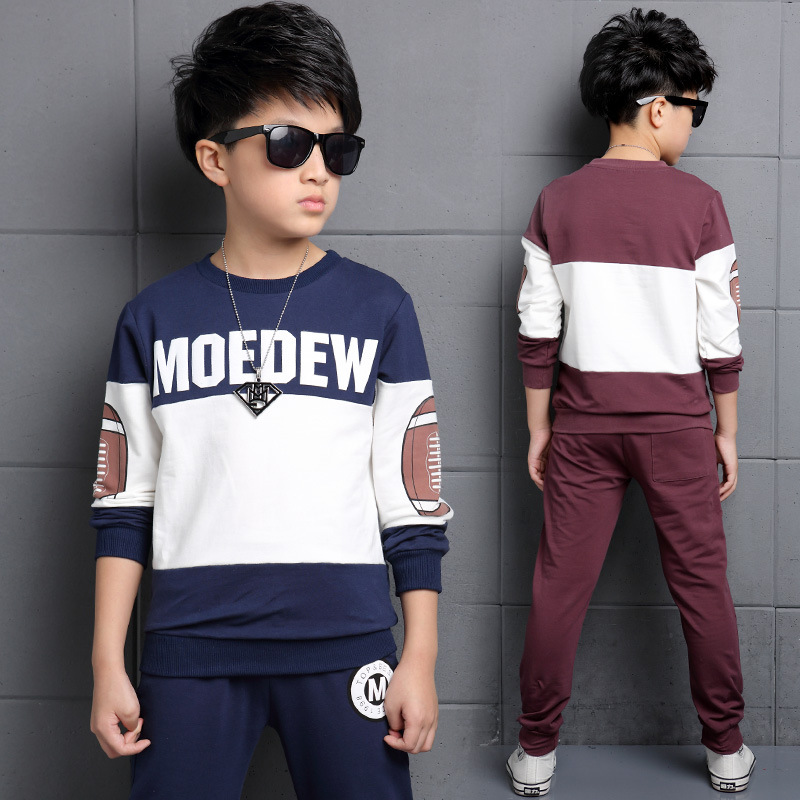 ФОТО Ensemble Garcon Marque Teenagers Sport Suit For Boys 3 4 5 6 7 8 9 10 11 12 13 14 Years Spring Baby Boy Clothing Set 2pcs