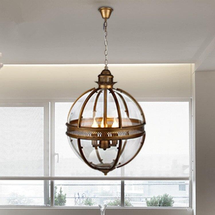 Vintage Loft Pendant Lights Wrought Iron Glass Shade Round