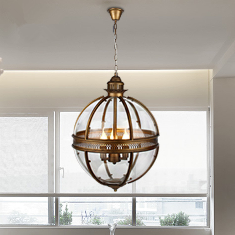 Vintage Loft <font><b>Pendant</b></font> <font><b>Lights</b></font> Wrought Iron Glass Shade Round Lamp Kitchen Dinning <font><b>Bar</b></font> Table Luminaire Fixture Hanging Lamps image