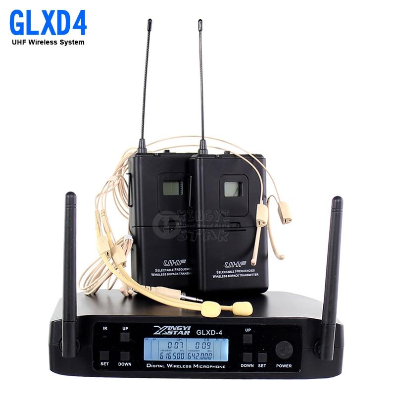 GLXD34 GLXD4 Professional UHF Headset Wireless Microphone Karaoke System Dual Channels Cordless Headworn Mic For Stage