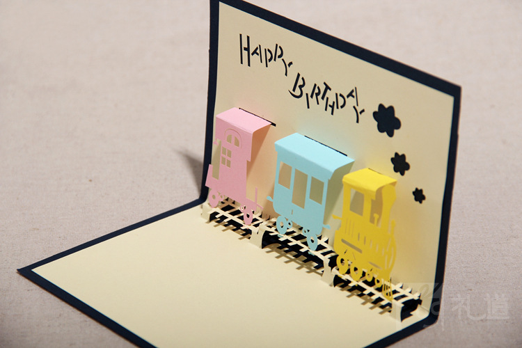 Train Birthday Kraft Paper 3d Luxurious Scroll Invitations Envelope Postcard Free Shipping Flower Invitation Pictures Stock