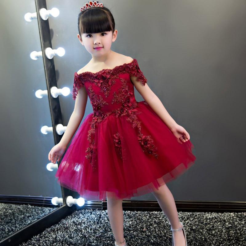Flower Girl Shoulder Pink Wedding Dress Puffy Short Dress 2019 New Bead Decoration Girl Wedding Host Banquet Dress