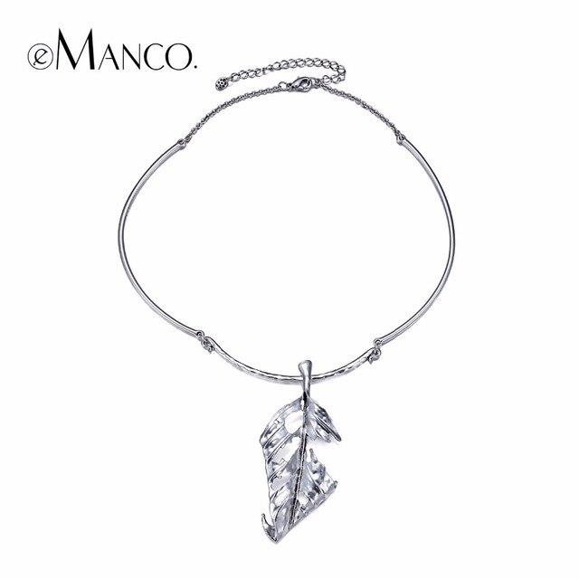 EManco folha pingente colares planta banhado a prata liga de zinco colar colar gargantilhas para as mulheres jóias concisa mujer bisuteria