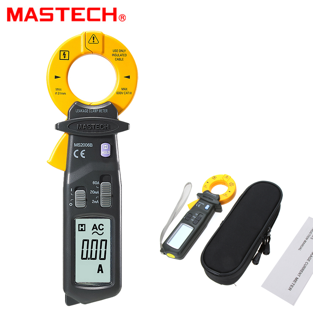 MASTECH MS2006B High Sensitivity AC Leakage Clamp Meters multimeter 1999 counts Data Hold pinza amperimetrica mastech ms2015b 6600 counts 1000a ac clamp meters w capacitance frequency temperature