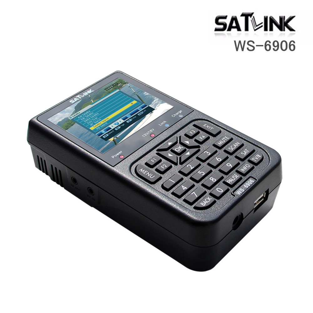 Prix pour WS-6906 Satlink Satellite Signal Finder WS6906 Satellite Numérique Mètre avec 3.5 Pouce Écran DVB-S FTA WS 6906 Construit dans La Batterie