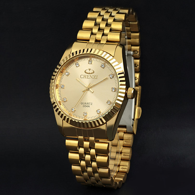 CHENXI Brand Luxury Men Gold Watch Stainless Steel Rhinestone Golden Male Dress Quartz Wristwatches Antique Retro