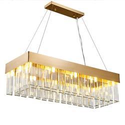 Światła luksusowe kryształowy żyrandol nowoczesny złoty willa salon dekoracje do jadalni prostokątne lampy żyrandol w Żyrandole od Lampy i oświetlenie na