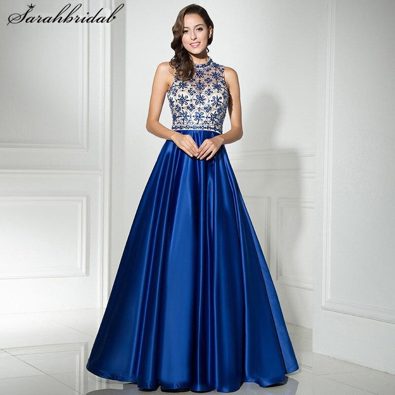 Luxurious Ever Pretty   Evening     Dresses   A Line Zipper Sexy Back High Collar Beading Crystal Prom   Dress   Robe De Soiree LSX318