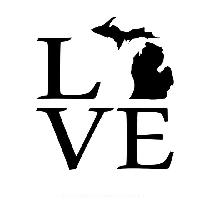 11 7cm12 7cm michigan love car decal laptop car stickers and decals motorcycle car