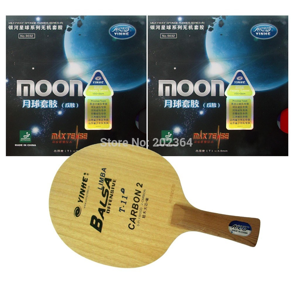 Galaxy YINHE T-11+ Table Tennis Blade with 2x Moon (Factory Tuned) Rubber With Sponge for a PingPong Racket FL hrt 2091 table tennis blade with dhs neo hurricane3 galaxy yinhe 9000e rubber with sponge for a racket fl