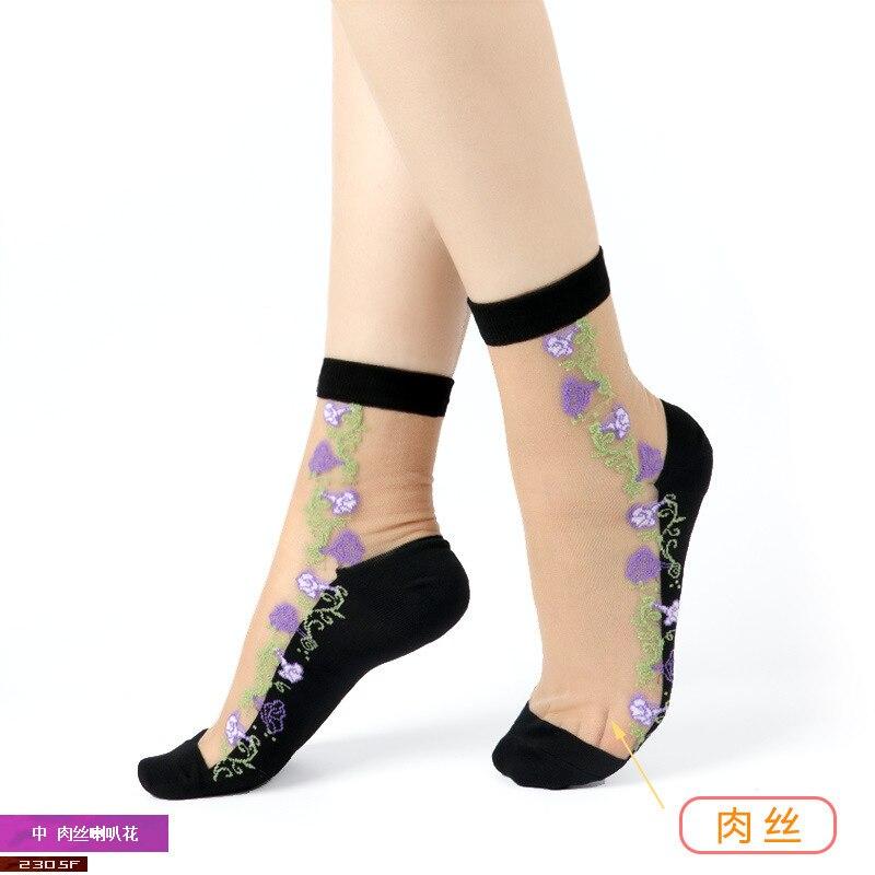 Sexy Lace Mesh Fishnet Socks Mixed Fiber Transparent Stretch Elasticity Ankle Net Yarn Thin Women Cool Socks 1pair=2pcs 2305