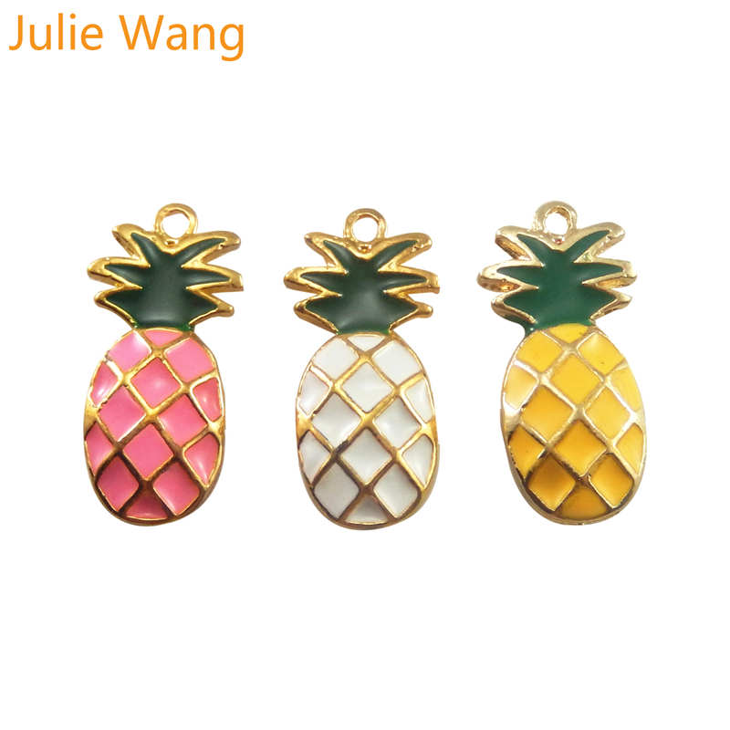 Julie Wang 6PCS Enamel Pineapple Fruit Charms Alloy Gold Tone For Necklace Pendant Earrings Jewelry Making Accessory