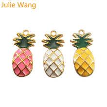 Julie Wang, 6 шт., эмаль, ананас, фрукты, амулеты, сплав, золотой тон, для ожерелья, подвески, серьги, аксессуары для изготовления ювелирных изделий