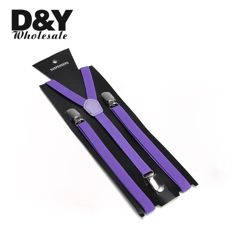 Women Men'S Shirt Suspenders For Trousers Pants Holder 2pcs/lot 1.5cm Wide Violet Clip-on Elastic Braces Slim Y-back Gallus Top