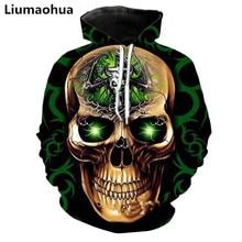 Liu Maohua 3D printing new fluorescent skull creative pattern unisex fashion sweatshirt pullover men and women hoodie