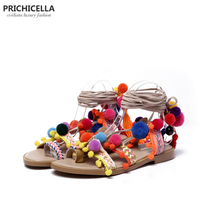 PRICHICELLA lace up pom pom sandals genuine leather gladiator flats women summer fringe shoes size35-41