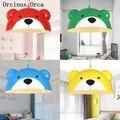 Candelabro creativo colorido Oso de jardín de infantes restaurante Luz de habitación para niños moderno Simple LED de hierro Animal araña