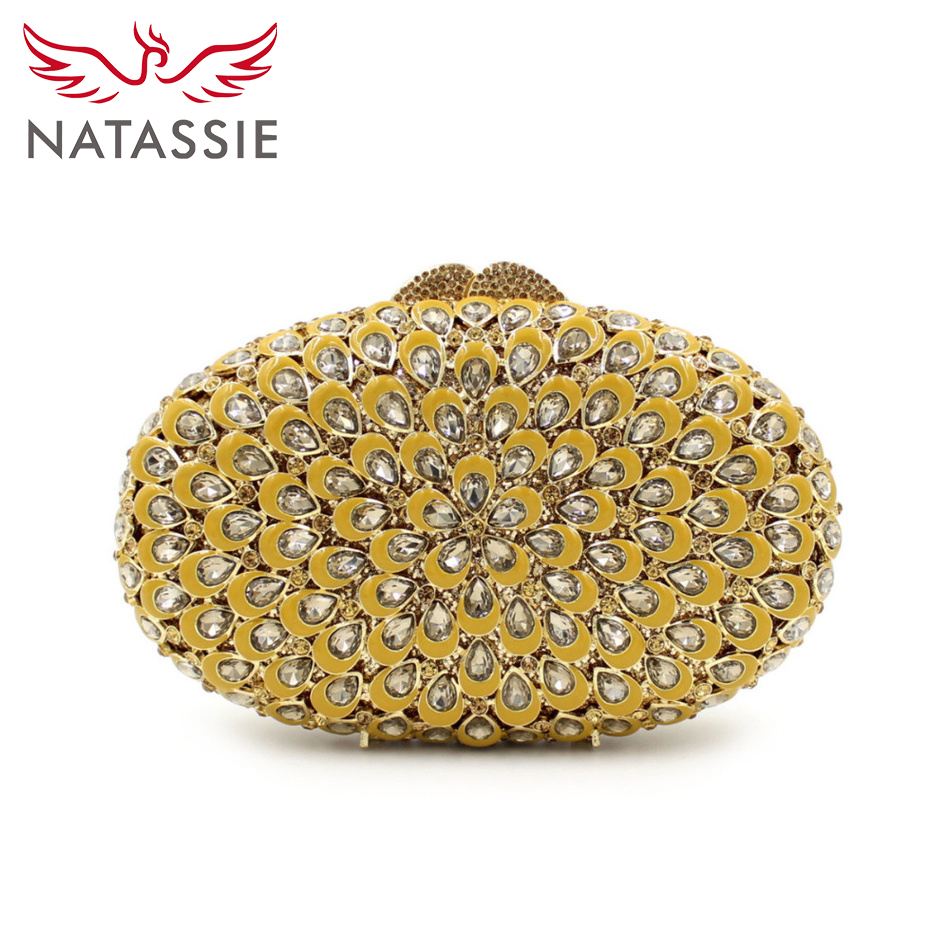 ФОТО NATASSIE New Women Luxury Crystal Clutch Handbag Wedding Purse Diamonds Evening Bag Gold Clutches LX015