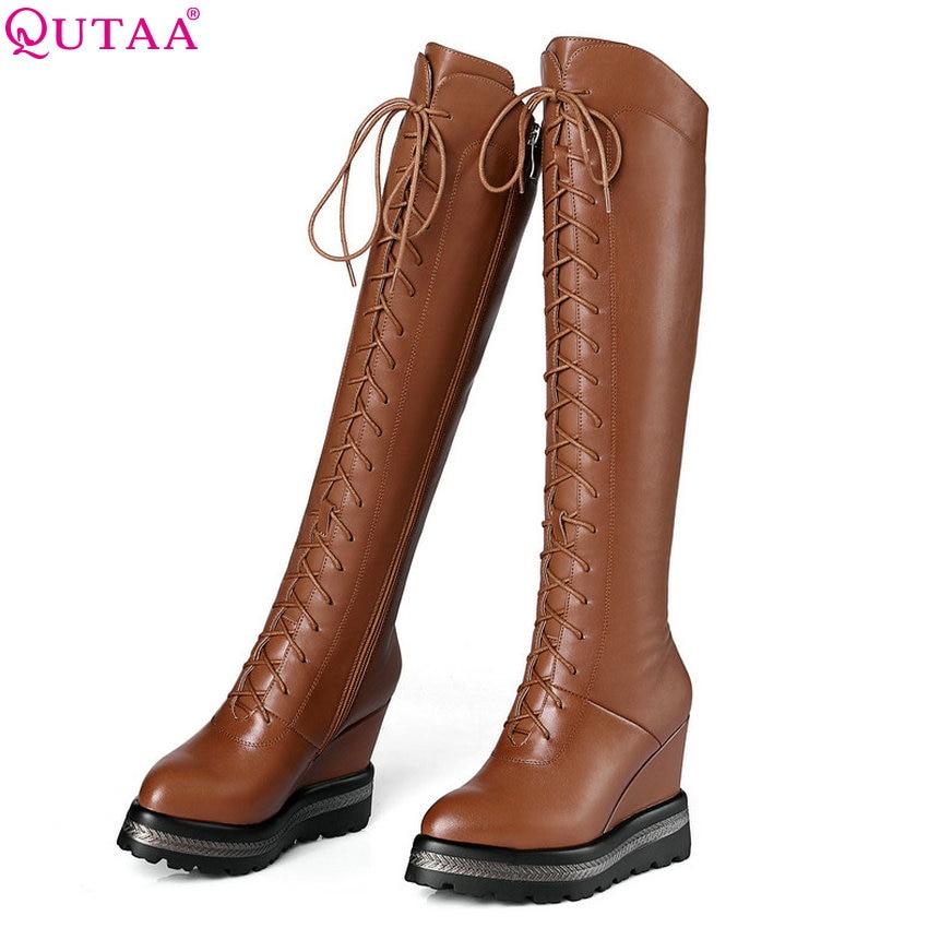 QUTAA 2019 النساء أحذية جلد البقر + بو الأزياء النساء أحذية أنحاء حذاء برقبة للركبة كل مباراة منصة الشتاء الأحذية حجم 34 42-في أحذية فوق الركبة من أحذية على  مجموعة 1