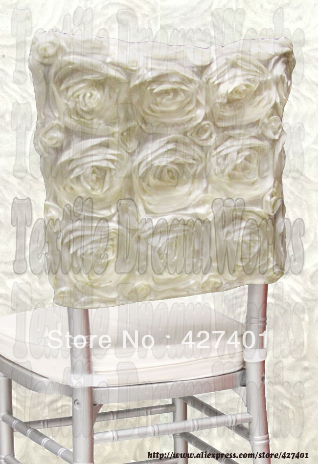Ivory Satin Rosette Chiavari Chair Hoods/ Chair Caps / Wrap Tie Back / Chair Sash For Wedding Event&Party&Banquet Decoration