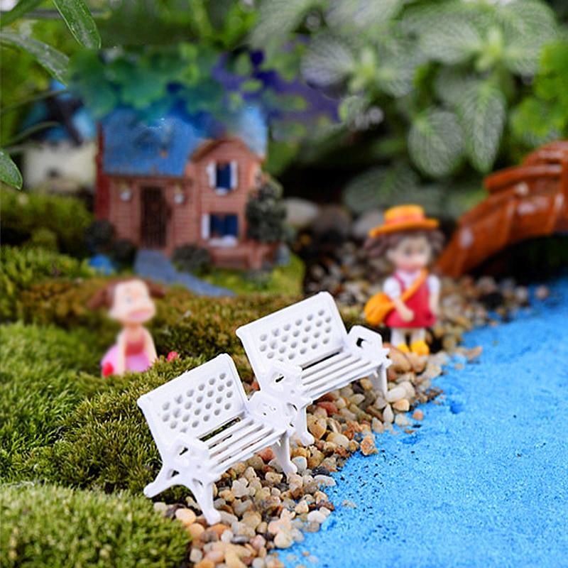 New 1PC Mini White Bench Fairy Doll Chairs Terrarium Moss Family Decor Figurines Garden Miniatures Micro Landscape Accessories