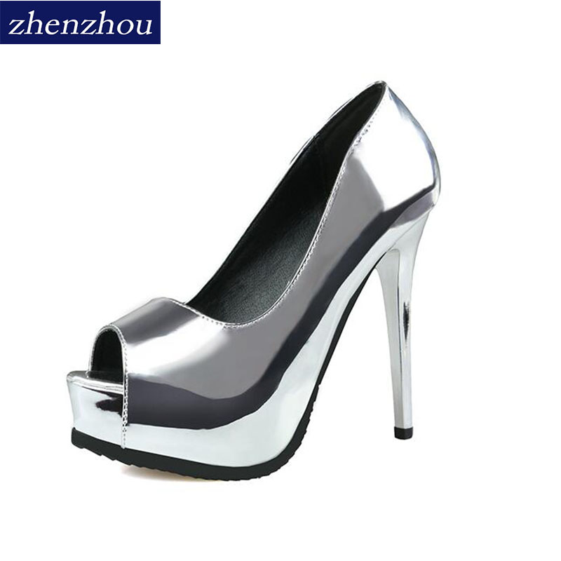 European and American fashion women's shoes with ultra high heels and waterproof platform gun color metallic sexy nightclub fish europe and super high heels 14cm fashion shoes waterproof fish head sexy nightclub fine with plaid shoes