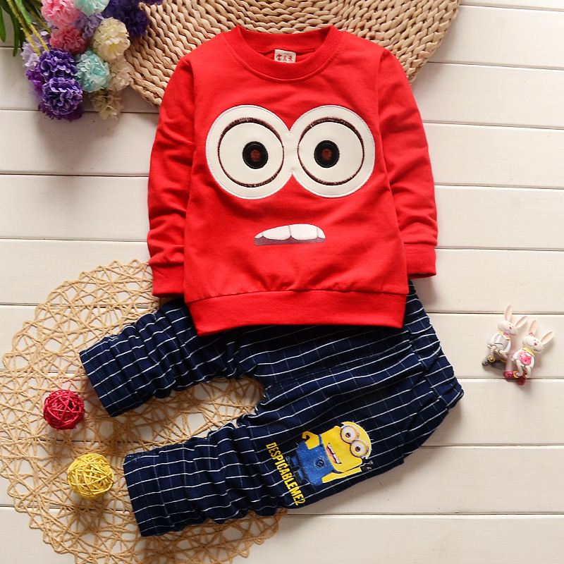 Toddler Boys Clothing Cartoon Printing Long Sleeved T-shirts + Striped Pants Girls Clothing Sets Kids Bebes Jogging Suits Outfit cotton cartoon t shirts