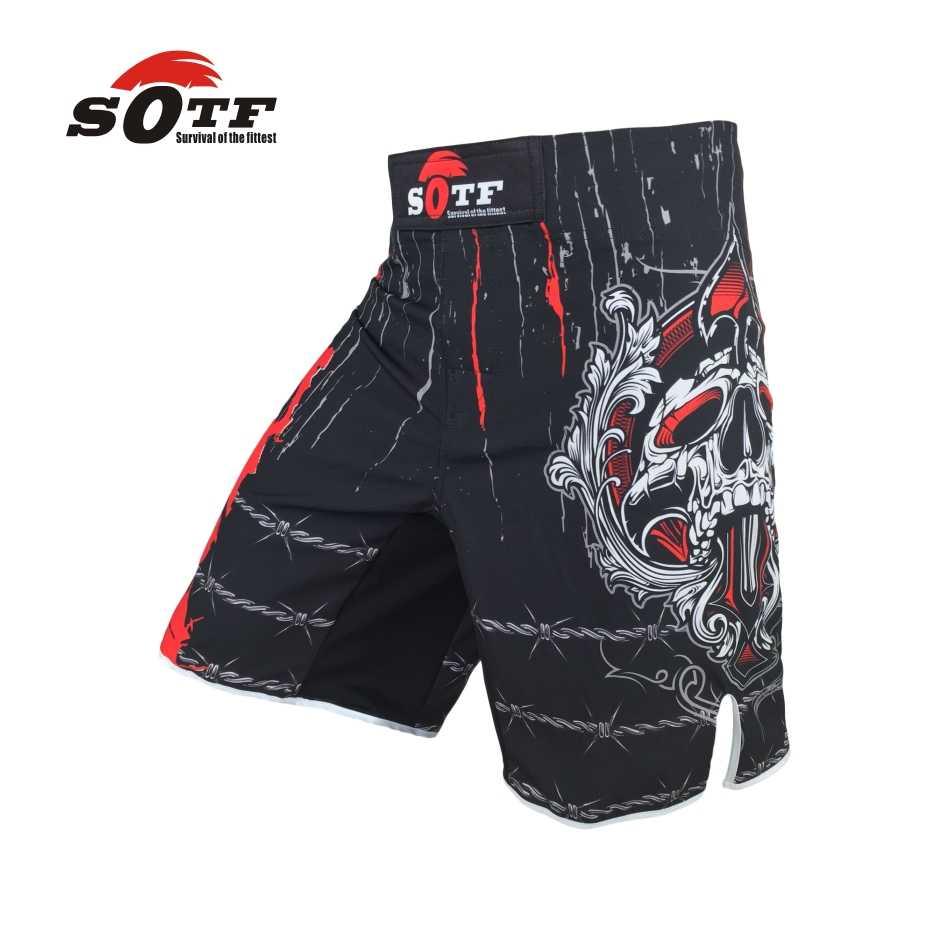 Sotf vento escuro edição respirável algodão boxer shorts mma treinamento esportivo muay thai roupas mma curto kickboxing shorts