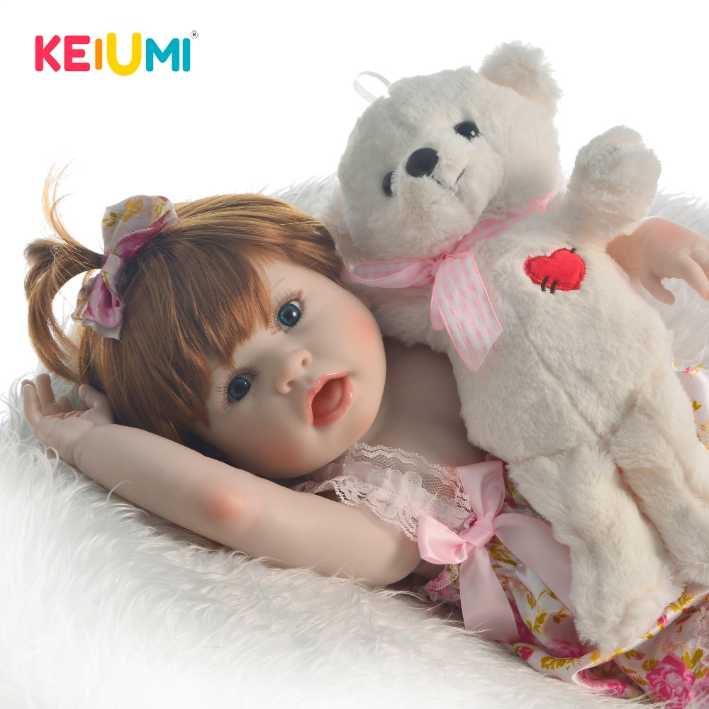 KEIUMI New Design 23'' Full Silicone Reborn Baby Girl Doll Realistic Get Surprising Funny Face Baby Doll Toy For Kids Playmates
