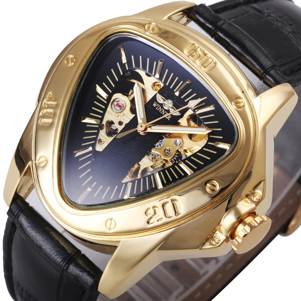 WINNER Top Brand Luxury Men Automatic Mechanical Watch Triangle Skeleton Dial Luminous Hands Fashion Male Wristwatches Gift full hunter smooth cooper pocket watch skeleton roman numbers dial mechanical automatic fob hour antique gift for men women